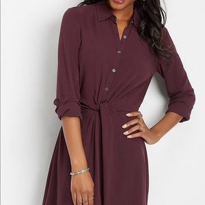 Maroon colored shirt dress🌺